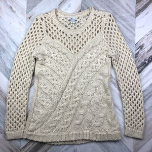 Bar III Cable Knit Open Knit Sweater Size Medium